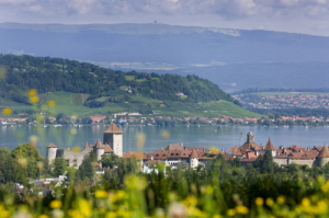Murten Castle is set in the Fribourg Region by a gorgeous lake.