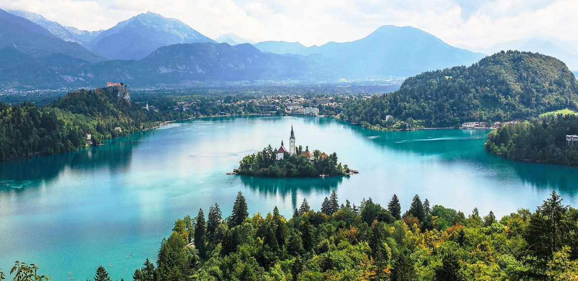Scenic Lake Bled with Julian Alps