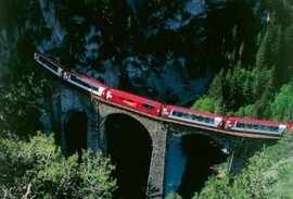 Bernina Express train in Switzerland