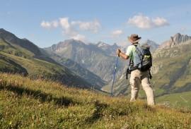 Hiker on Swiss trails