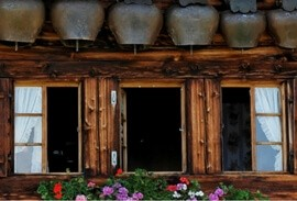 Swiss chalet lined with cow bells