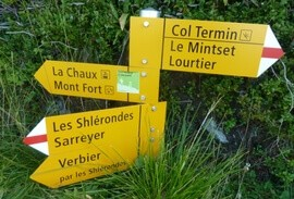 Swiss hiking trail markers