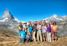 Hikers in front of the Matterhorn Mountain