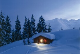 Swiss chalet in the winter