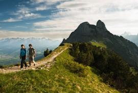 hikers on a mountain ridge