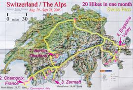 Map of Swiss Alps