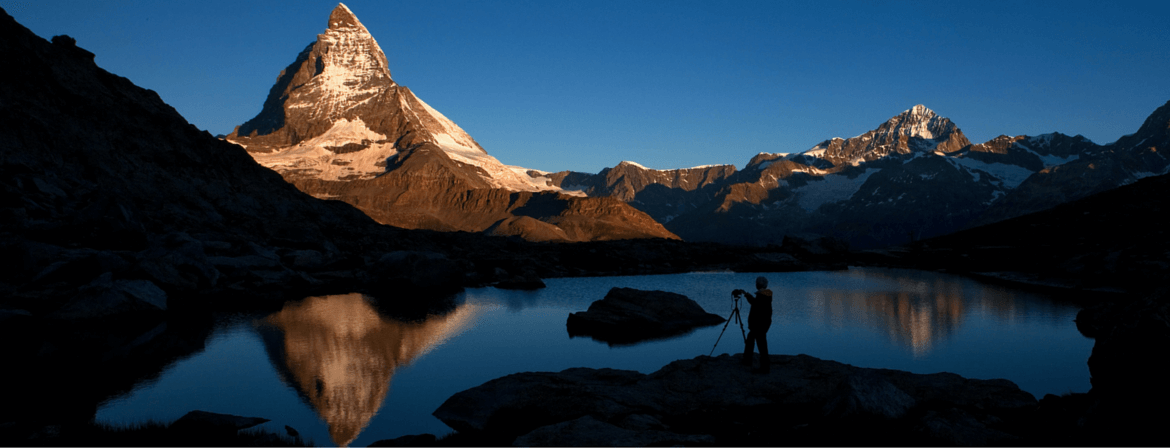 The Matterhorn at dusk from Riffelsee Zermatt