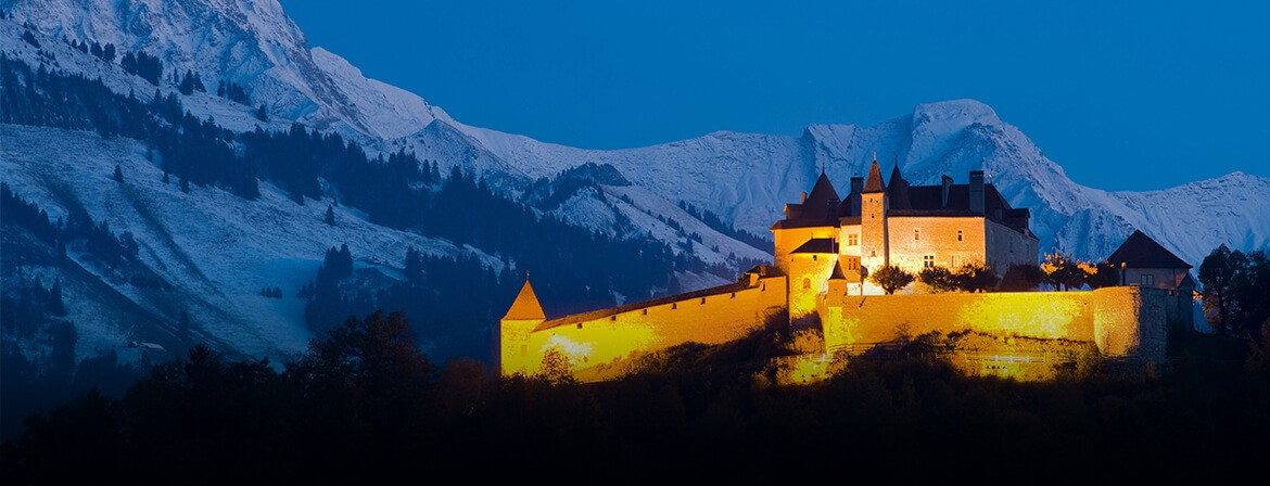 Gruyères Castle by night