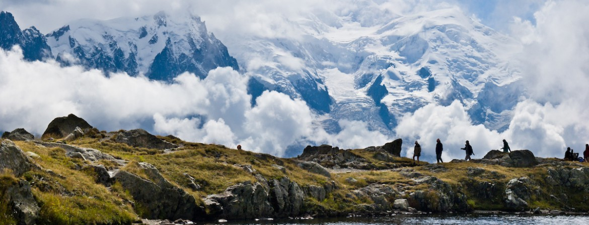 The Mont Blanc range from the Lacs de Chéserys Tour du Mont Blanc