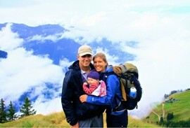 Family hiking the Haute Route