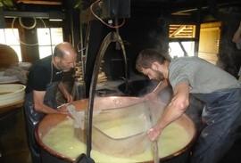 Cheese making in a cauldron