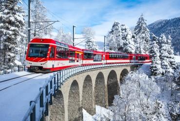 Matterhorn Gotthard Bahn on the Laxgraben Viaduct, Fiesch, Valais.