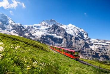 Jungfrau Railways, in front of Jungfrau, Bernese Oberland.
