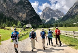 Hikers in the Italian Dolomites