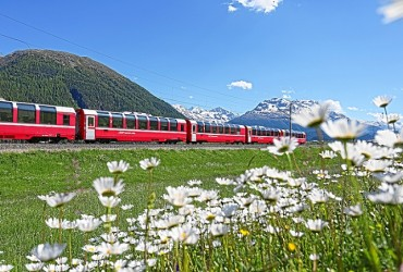 Bernina Express running in the Engadin