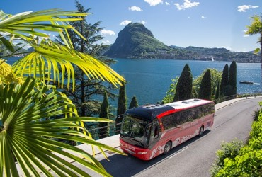 Bernina express bus departing Lugano