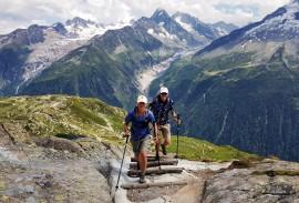 Hikers on tour du Mont Blanc