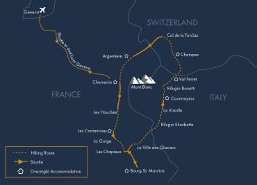 The Mont Blanc range from the Lacs de Chéserys Tour du Mont Blanc