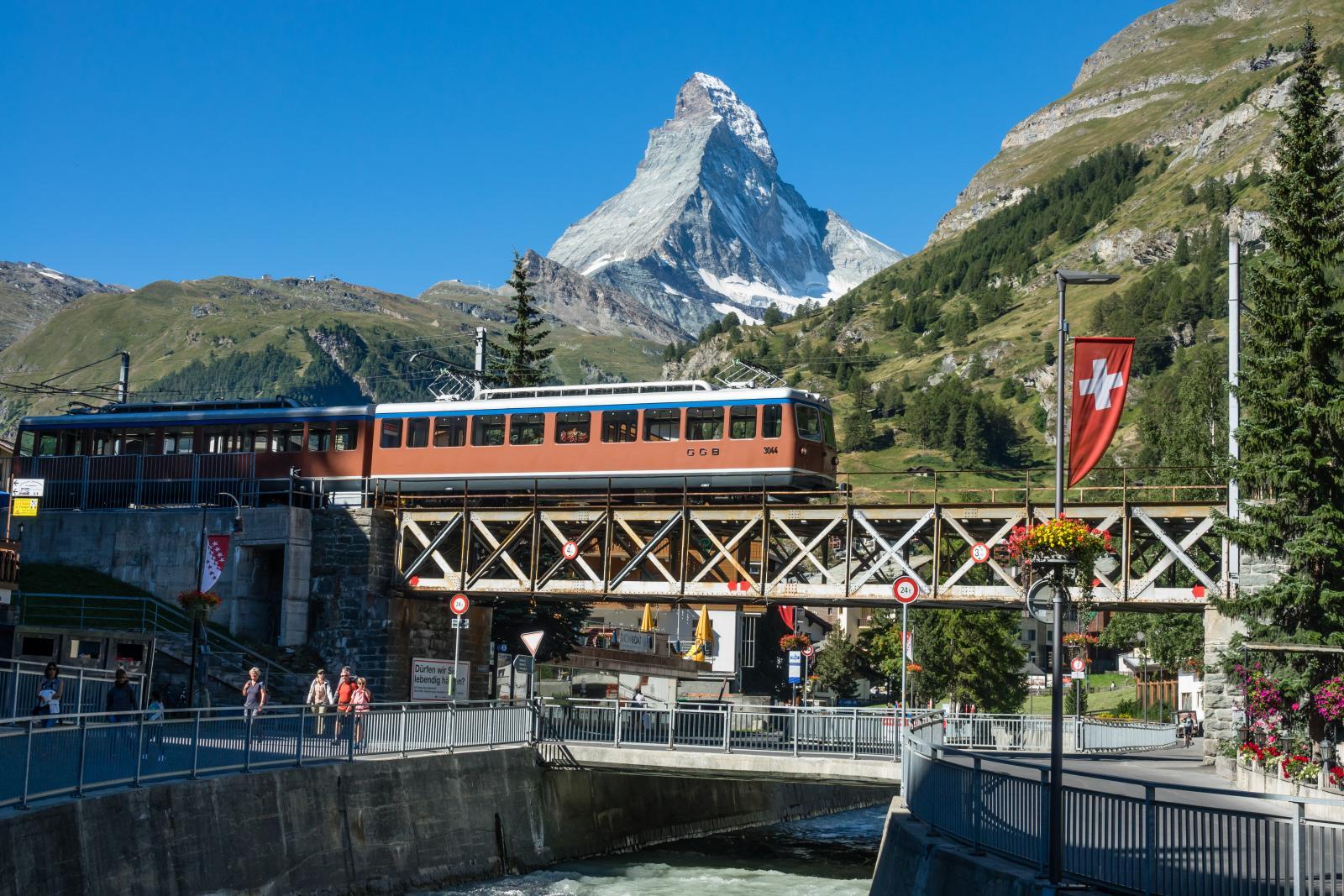 Swiss Train and Matterhorn