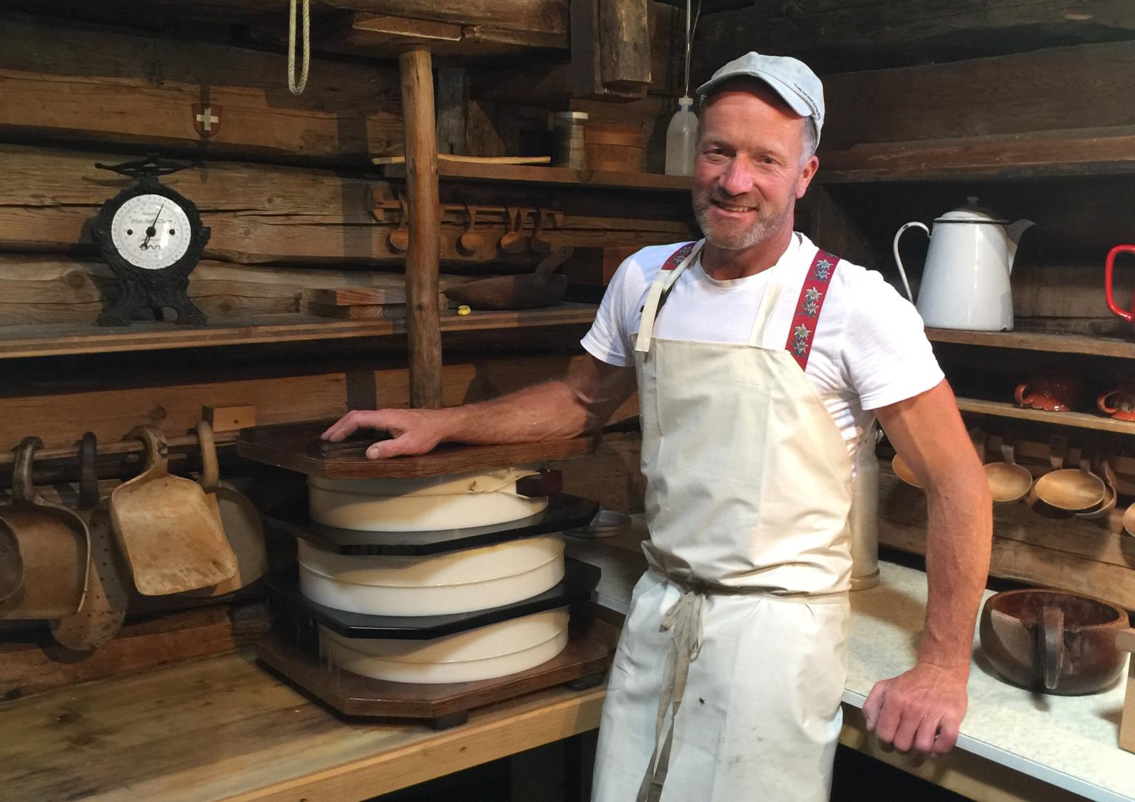 Cheese maker Andreas Michel at Eigeralp