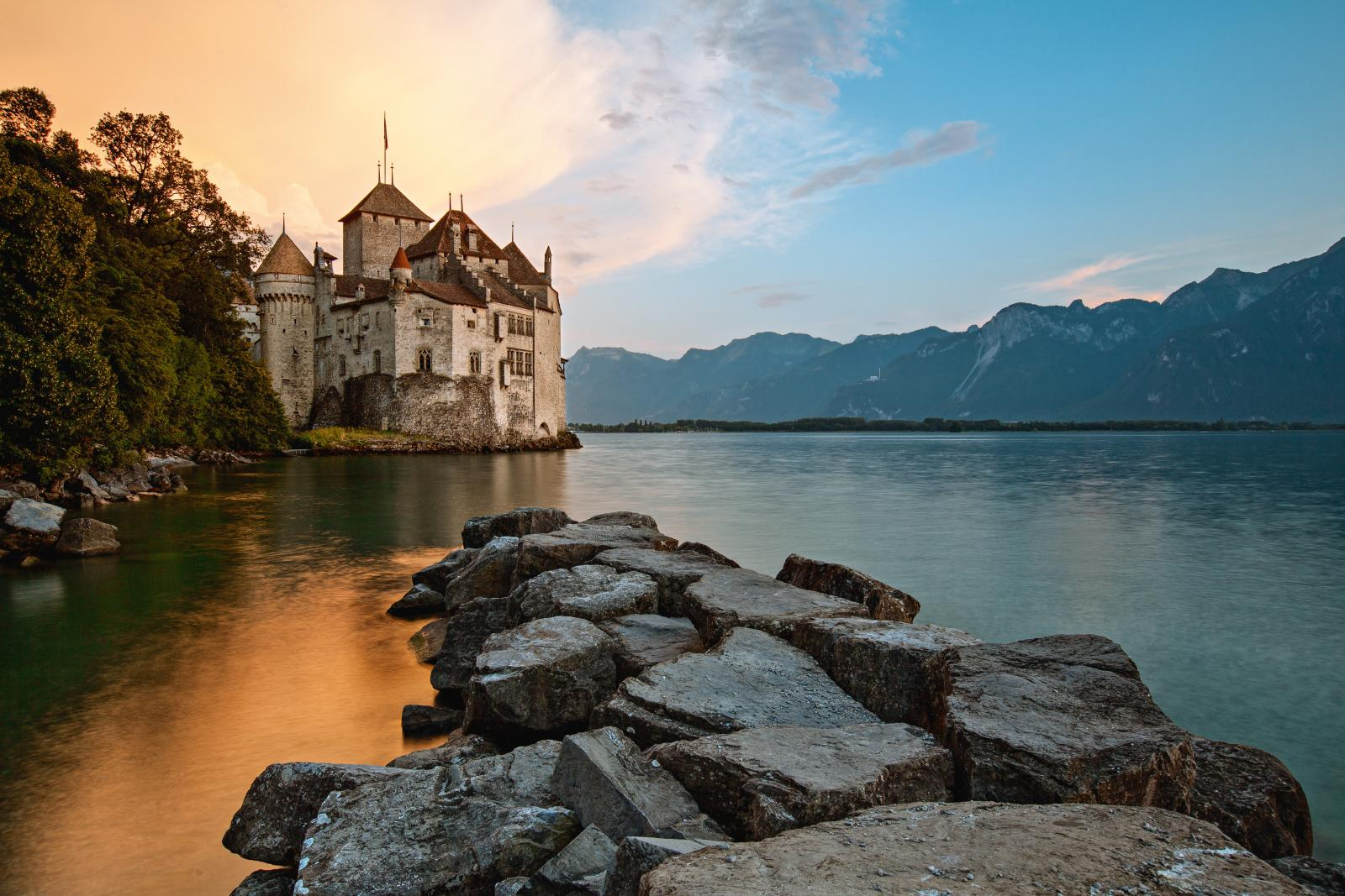 Chillon Castle located on shores of Lake Geneva