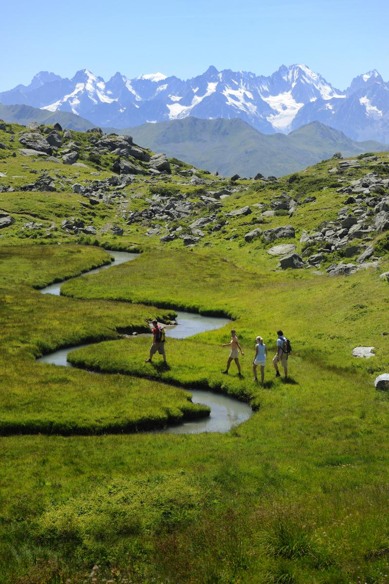 Hikers exploring Switzerland